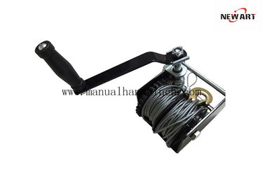 680kg Black Power Coated Worm Tangan Winch, Dua Kabel Worm Gear Boat Winch
